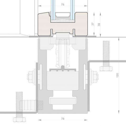 Disegno tecnico della guida incassata dell'alzante scorrevole Skyline