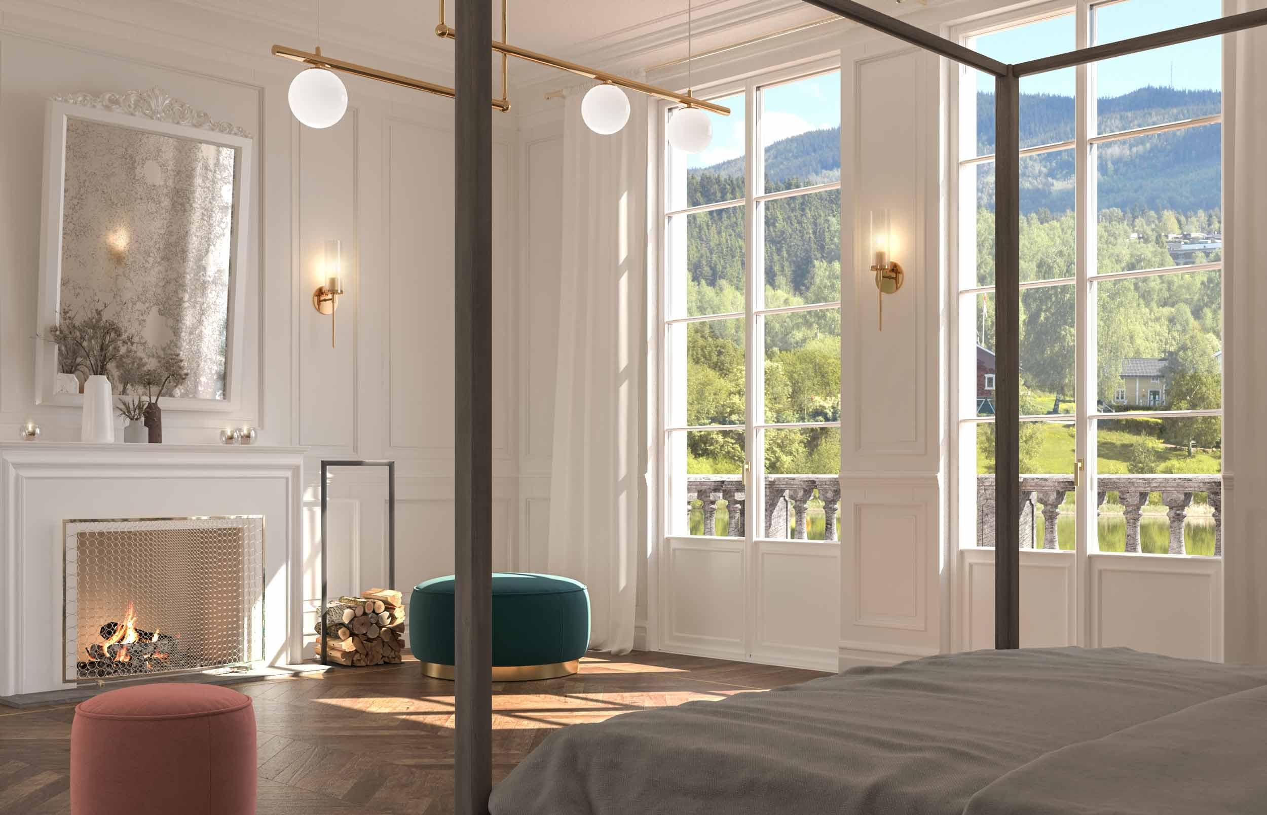 Vista di una camera da letto con porte finestre laccate bianche
