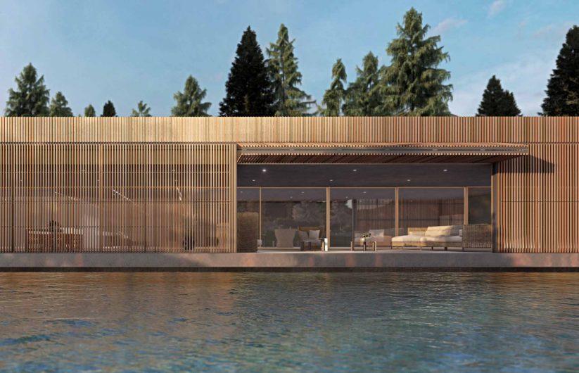 Vista frontale di un edificio rivestito in legno con Ginocchiera aperta