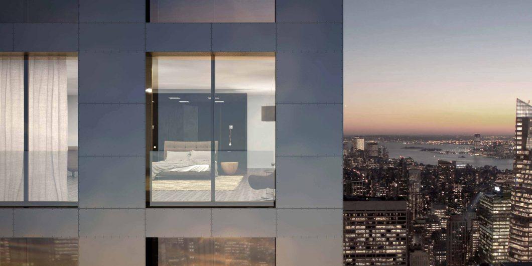 Vista di una facciata di grattacielo con porta finestra a due ante effetto vitrum