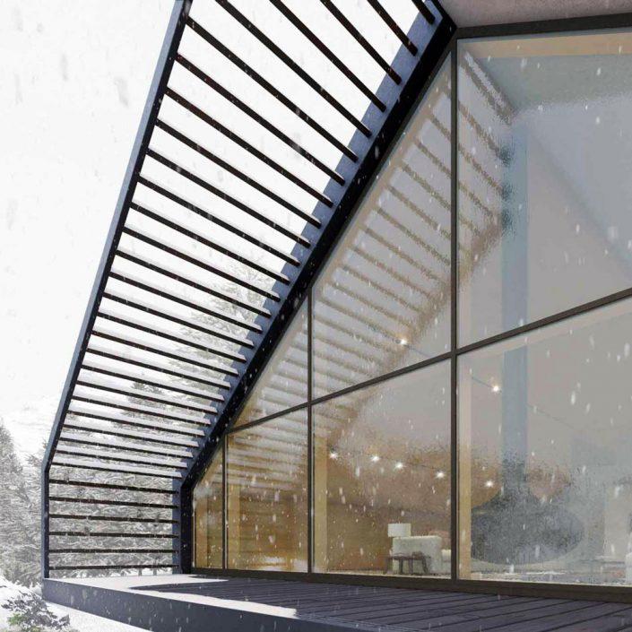 Vista esterna di una parete vetrata con facciata continua in legno rivestito bronzo