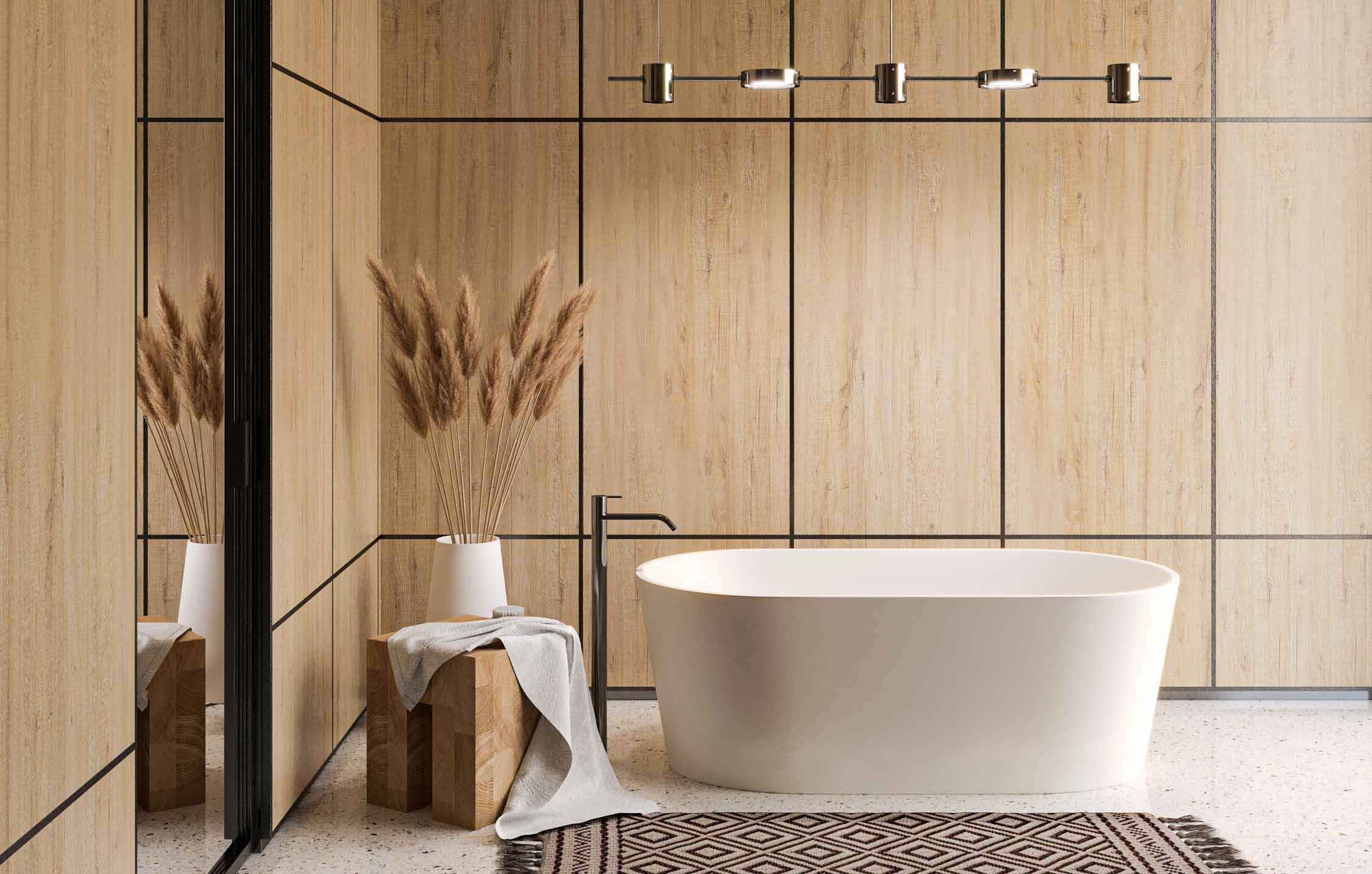 Bagno con boiserie in legno a pannelli