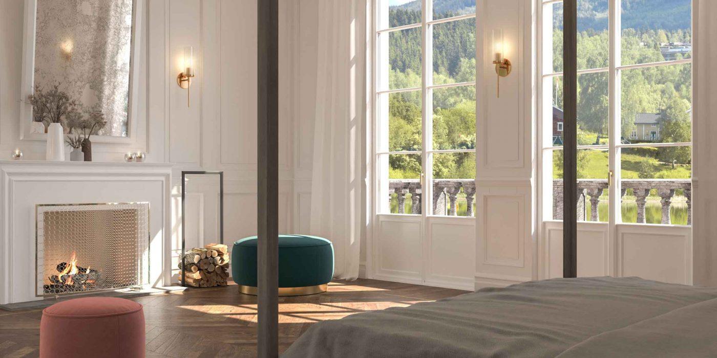 Vista generale di una camera da letto con porte finestre Skyline Classic con inglesine
