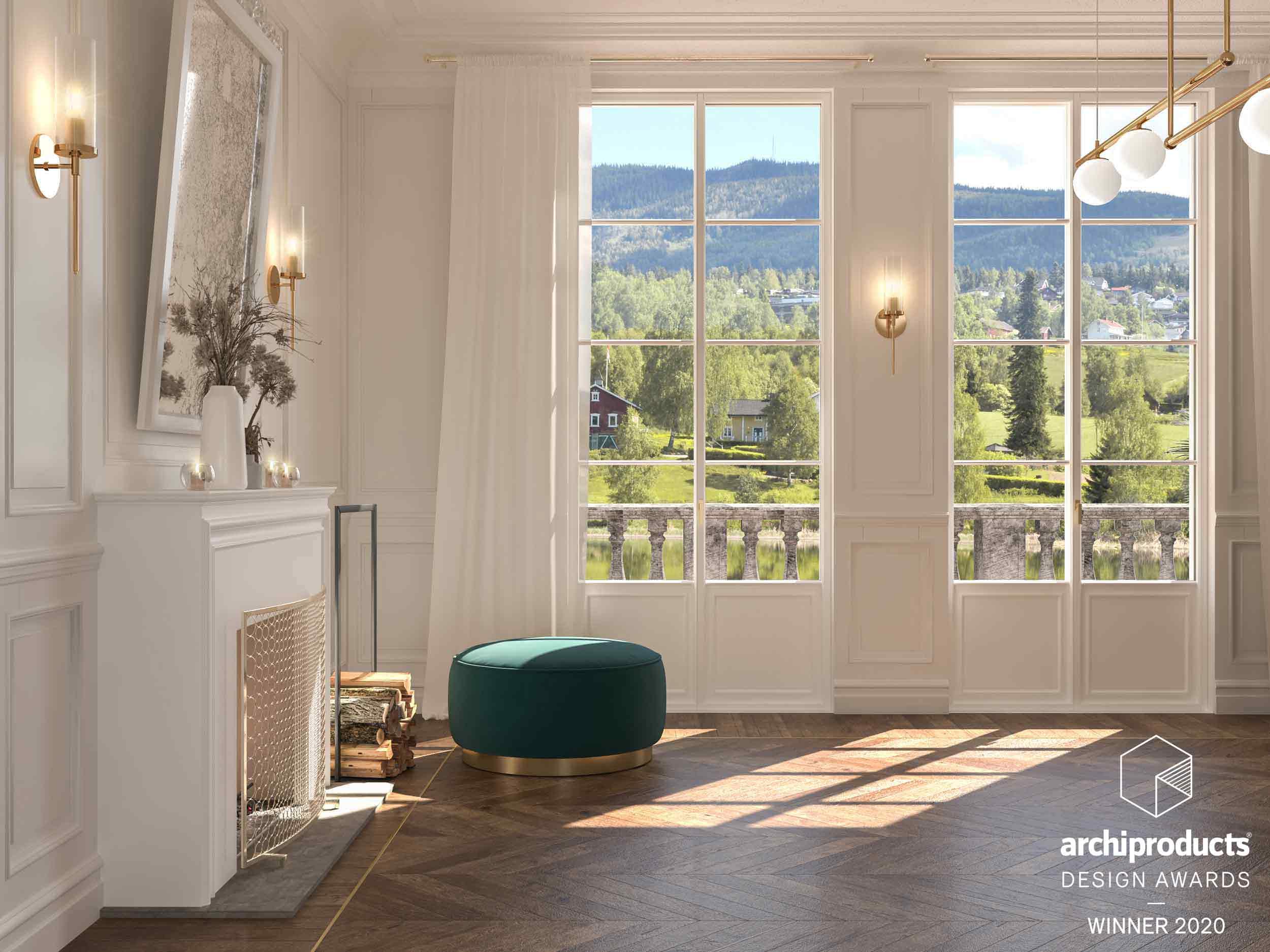 Vista di un interno con porte finestre Skyline Classic a due ante con inglesine