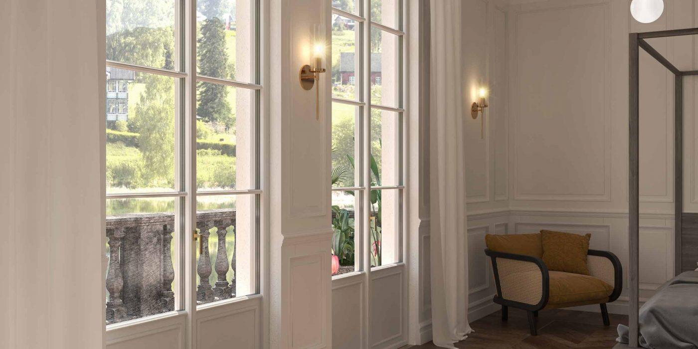Vista di una camera da letto con porte finestre in legno laccato bianco Skyline Classic