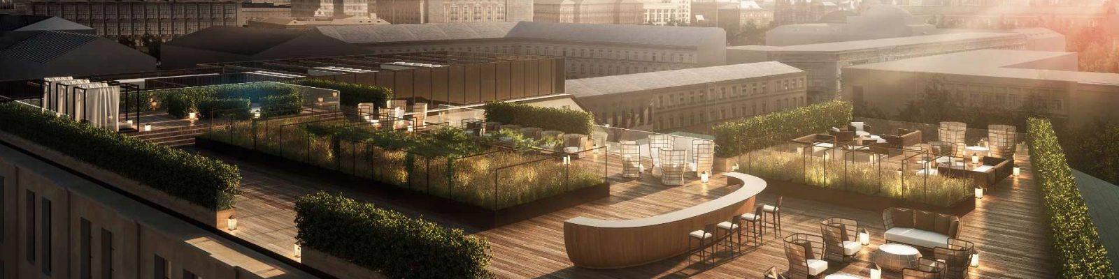 Vista del terrazza sul tetto del Bvlgari Hotel di Mosca