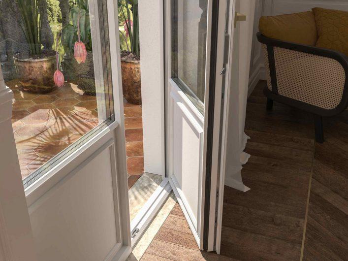 Dettaglio della soglia della porta finestra Skyline Classic
