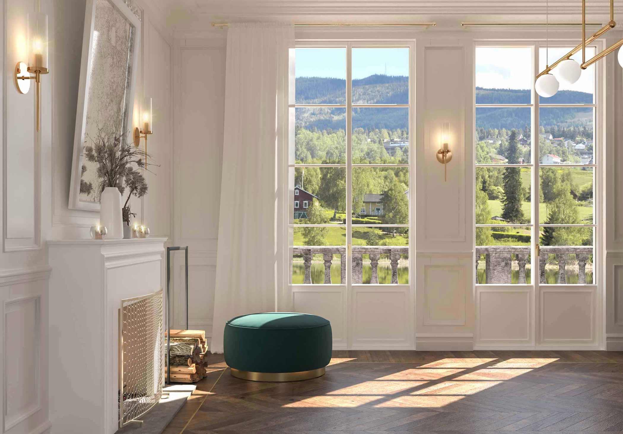 Vista delle porte finestre Classic laccate bianche con inglesine