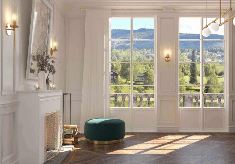 Vista frontale di due porte finestre con inglesine Skyline Classic
