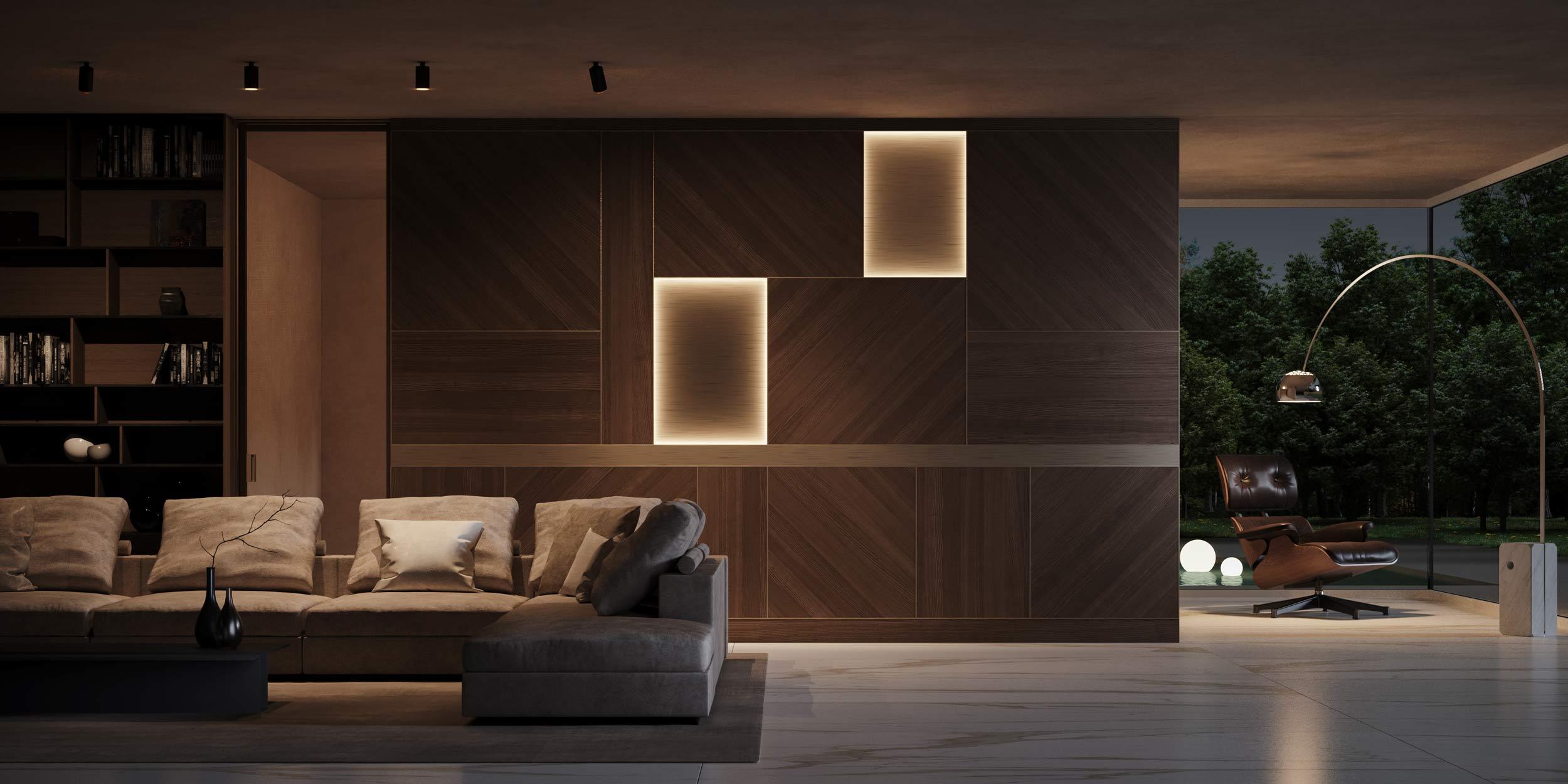Boiserie Abaco in legno e alluminio, vista notturna