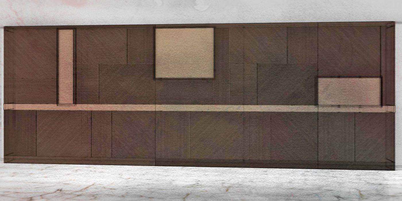 Schema di una boiserie in legno attrezzata