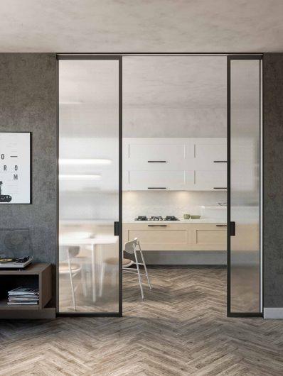 Porta interna scorrevole Lady laccata color grigio e vetro armato trasparente