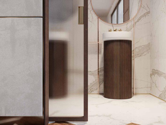Dettaglio della porta scorrevole Lady in wengé e vetro quadrettato trasparente