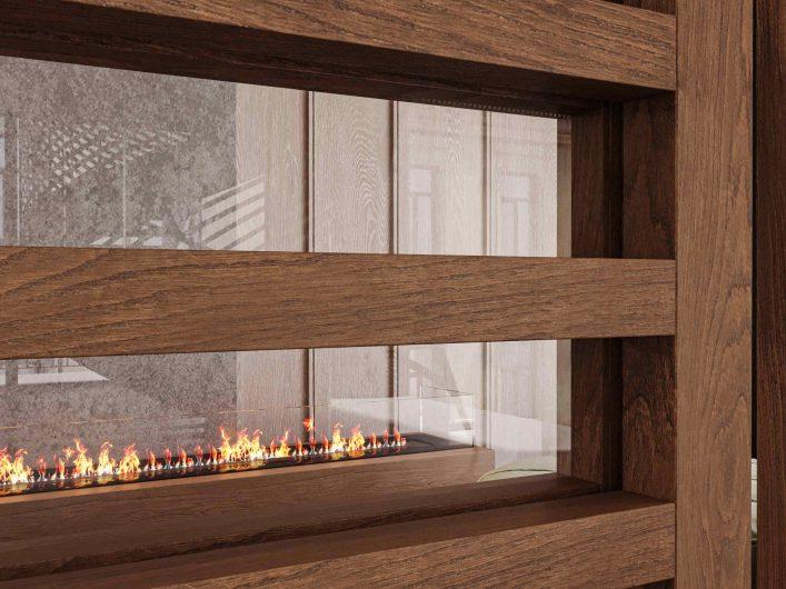 Dettaglio della porta scorrevole Lady in teak con listelli orizzontali e vetro trasparente