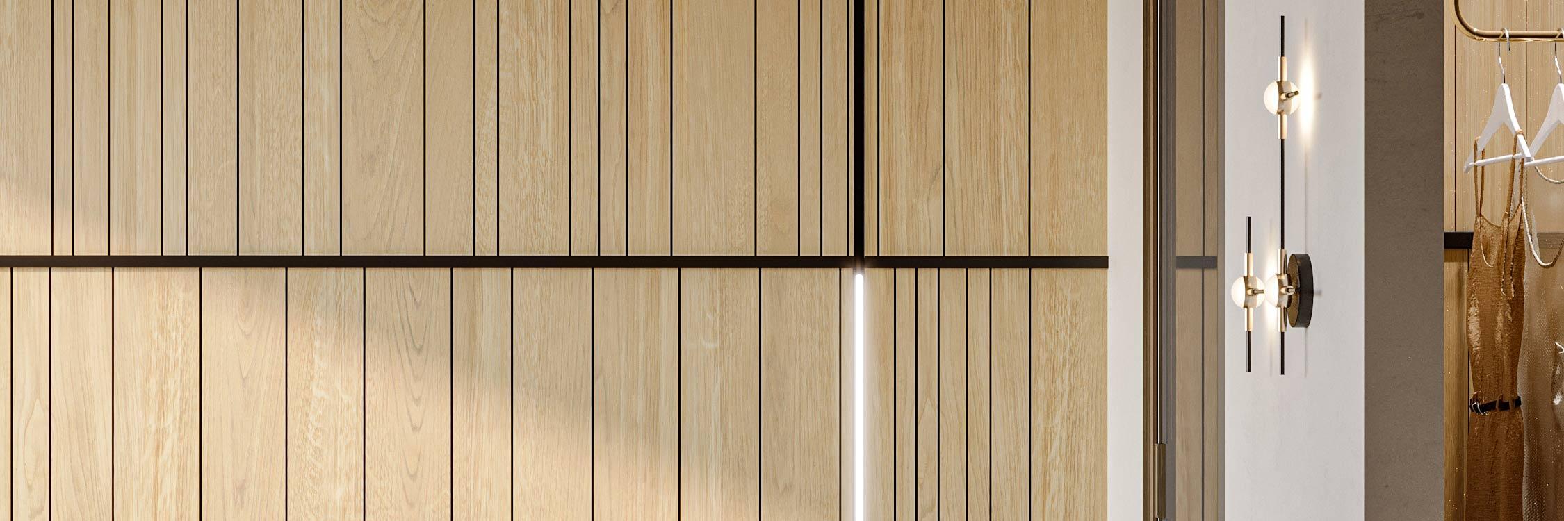 Vista di dettaglio di una boiserie in legno a doghe verticali