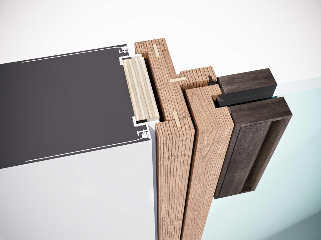Technical node of the classic flush-to-wall fixed frame of the Lady swing door
