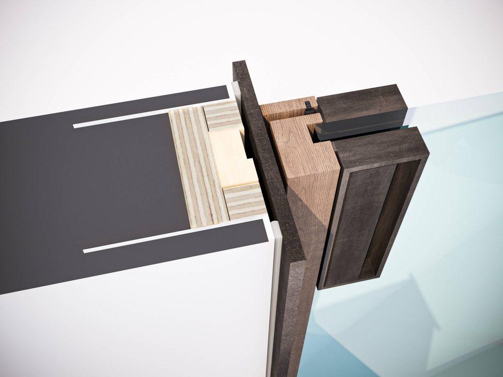 Technical node of the minimal aluminium frame of the Lady swing door